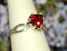 Top Quality True Red Sparkling Garnet Ring by WindstoneDesigns, $48.95