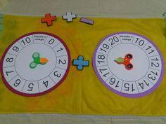 Olá meninas! Abaixo mais uma sugestão para trabalhar as operações matemáticas nas turmas do 1º ao 5º anos. A roleta foi confeccionada d... Maths Puzzles, Teacher Binder, Numeracy, Teaching Math, Professor, Baby Shower, Crafts, Design, Emotions Activities