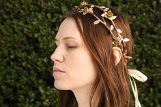 wedding rustic flower crown - rustic gold flower crown - woodland bridal crown - rustic bridesmaid crown - bridal woodland crown - twig halo
