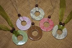 Beautiful necklaces made from ordinary washers and scrapbook paper.