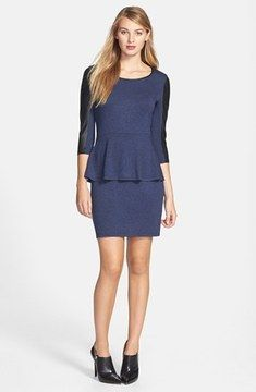 05859ed1392 kensie Faux Leather Sleeve French Terry Dress on shopstyle.com