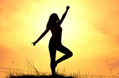 girl and sunset teenager girl is training with aerobic exercises in