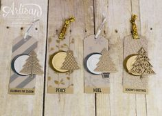 CYCI99 Christmas tag set using Peaceful Pines stamp set and die bundle from Stampin' Up! by Marisa Gunn