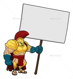 Tough Spartan or Trojan Holding Sign Board - #Miscellaneous #Characters Download here: https://graphicriver.net/item/tough-spartan-or-trojan-holding-sign-board/19714443?ref=alena994