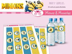 Minions Water Bottle Labels  Digital Collage by MimosyMonerias, $3.99