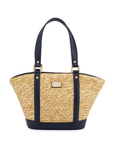 Woven+Straw+Tote+Bag,+Natural/Navy+by+St.+John+at+Neiman+Marcus+Last+Call.