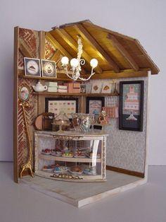 """Cafe Hand-made miniature Scene 1:12 scale """" Une Petite pâtisserie"""""""