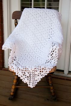 White baby blanket, crochet - altering this pattern would make a pretty shrug... (can you tell I need a sweater for work?)