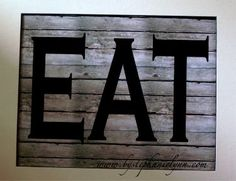 """I like this idea but make an actual one of these with white boards nailed together and then paint the """"EAT"""" in blue with a rougher paint brush stroke than the actual clean cut font.... to go in the center of the forks with photos"""