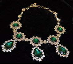 2013 fashion emerald crystal prism choker statement bib womens necklace vintage oversized party gift wholesale free shipping $14,60