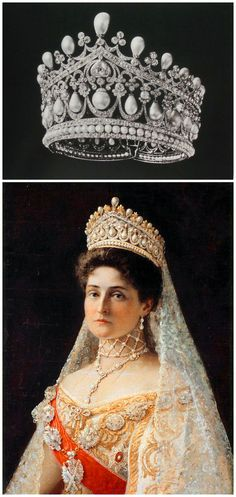"Above: Tiara, likely created by the court jeweller Bolin for Empress Alexandra Feodorovna of Russia. Image from A. E. Fersman's catalog ""Diamond Fund of the USSR,"" published around 1924-26, via Elena Horvathova on LiveJournal (http://eho-2013.livejournal.com/62382.html). Below: Portrait of Tsaritsa Alexandra Feodorovna, by Ilya Yefimovich Repin, Russia, 1896, Hillwood Estate, Museum & Gardens, via Wikimedia Commons."