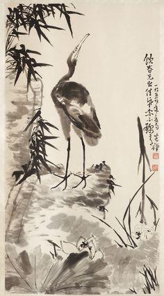 "With dedication ""To my friend Yingu"". Modern Art, Contemporary Art, Cliff, Crane, Vintage Art, Lotus, Bamboo, Chinese, Lotus Flower"