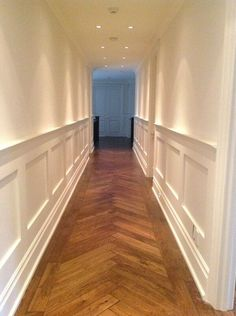 Wood panelling, walls and ceilings all painted by NGI #hallwayideasnarrow #panelingwallsdecorating