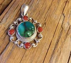 Turquoise and Red Coral Pendant