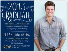 Graduation Party Invitations Postcards Empowering Future - Front : Navy
