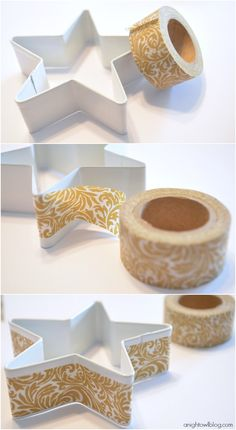 Washi Tape Christmas / Xmas / Navidad Add washi tape to a cookie cutter for a fun ornament!