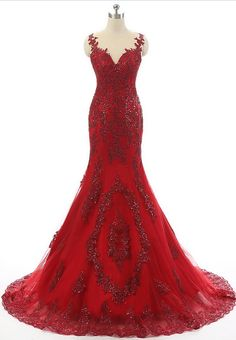 Elegant Dark Red Appliques Tulle Mermaid Prom Dresses,Sheer Scoop Neck Sequined Party Gowns