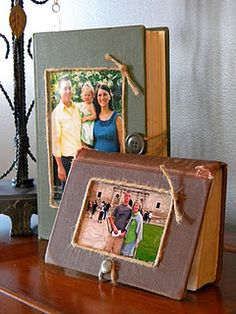 Turn old books into picture frames. Or paste photos on picture album covers to remember what's inside (Wedding, vacation, baby...)