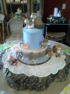 Woodland baby shower cake.