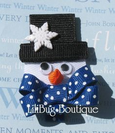 LiliBug Frosty the Winter Snowman Hair Clip LiliBug Frosty the Winter Boneco de neve grampo de cabelo Hair Ribbons, Diy Hair Bows, Diy Bow, Bow Hair Clips, Ribbon Bows, Ribbon Hair, Grosgrain Ribbon, Christmas Hair Bows, Ribbon Sculpture