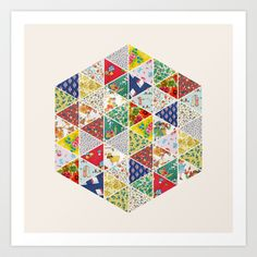 Geometric Floral Quilt Art Print by Zeke Tucker - $17.68