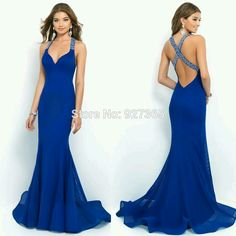 3dd84d5cac Abierto azul sirena con cuentas vestido de noche l vestidos de fiesta  Largos