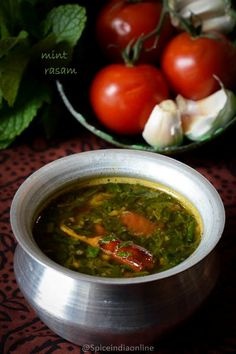 Mint Rasam / Pudina Rasam is probably one of the most flavorful rasams ever tried.there are many variations to this recipe but at home we enjoy this simple method which don't . Curry Recipes, Side Dish Recipes, Vegetable Recipes, Soup Recipes, Vegetarian Recipes, Chicken Recipes, Dinner Recipes, Rice Side Dishes, Food Dishes