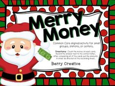 Merry Math ~ Money Math Station. Cute freebie!
