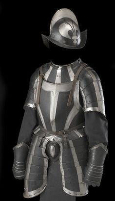 A German black and white half-suit of armor  probably late 16th century