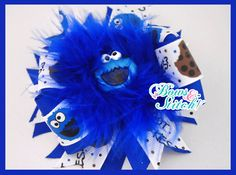 Cookies Monster Bow with marabou