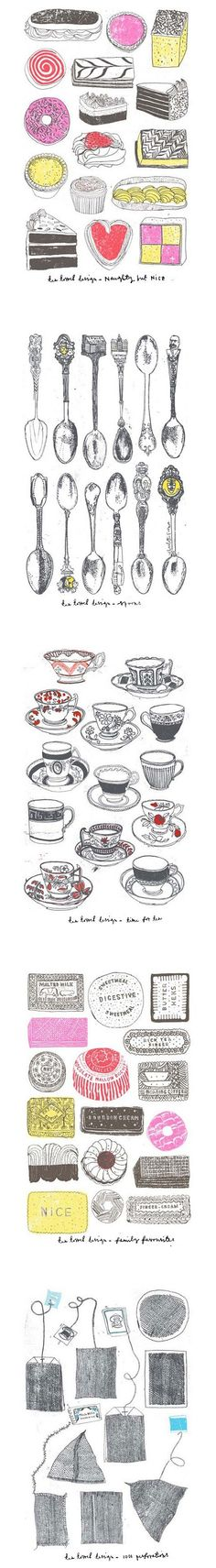 Tea towel designs by Charlotte Farmer