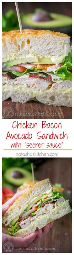 "Chicken Bacon Avocado Sandwich with ""Secret Sauce"" - A Kneaders Bakery Copycat Recipe : NatashasKitchen Lunch Recipes, Dinner Recipes, Cooking Recipes, Healthy Recipes, Picnic Recipes, Picnic Ideas, Healthy Meals, Croissant Sandwich, Soup And Sandwich"