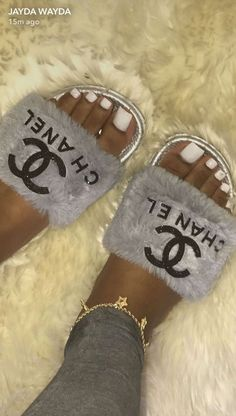 ca2326f2e chanel fuzzy slides Slide Sandals, Shoes Sandals, Shoe Boots, Flats, Pool  Slides