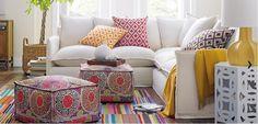 Style marocain revisité Sectional Sofa Slipcovers, 2 Piece Sectional Sofa, Ottoman Slipcover, Pouf Ottoman, Fabric Ottoman, Sleeper Sofa, Diy Design, Interior Design, Interior Decorating