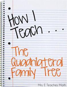 How I Teach the Quadrilateral Family Tree - a cute story for teaching quadrilaterals Geometry Lessons, Teaching Geometry, Math Lessons, Geometry Activities, Math Activities, Student Teaching, Math Teacher, Math Classroom, Teacher Stuff