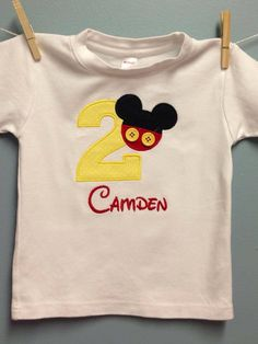 Mickey Mouse buttons shorts Disney Birthday shirt number 1st 2nd 3rd Mickey ears applique  12 18 24 mo 2 3 3T 4 4T boy onesie shirt