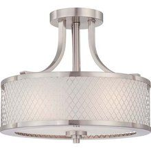 View the Nuvo Lighting 60/4692 Fusion Three Light Semi-Flush Ceiling Fixture with Frosted Glass, in Brushed Nickel Finish at LightingDirect.com.