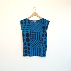 Blue Patch work Dots // hand painted silk shirt by XSILK on Etsy