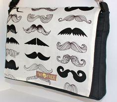 Black and White MUSTACHE Party MeSSENGER ipad Laptop Diaper BAG. $27.99, via Etsy.