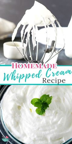 With only 3 simple ingredients you can make this fresh sweetened homemade whipped cream recipe! Its fluffy creamy texture makes it the perfect topping for cakes, pies, cupcakes, cheesecakes, trifles, jello and many more sweets! #homemade #whippedcream #dessert #desserttoppings Homemade Desserts, Great Desserts, Best Dessert Recipes, Sweet Recipes, Delicious Desserts, Cake Recipes, Cheesecake Trifle, Good Pie, Homemade Whipped Cream