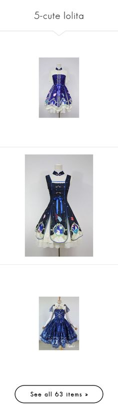 """5-cute lolita"" by cristinamariaalvarezramirez ❤ liked on Polyvore featuring dresses, lolita, angelic pretty, jsk, misty sky, pink dress, blue dress, sailor dress, blue sailor dress and check print dress"