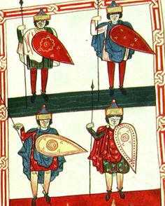Detail from the :Crowning of the ten kings, and their soldiers, miniature from the Apocalypse of the Saint Sever (Saint Sever Beatus), Latin manuscript, folio France Century. Ottonian, Bayeux Tapestry, Frank Morrison, Arm Armor, 11th Century, Kites, Dark Ages, Warfare, Apocalypse