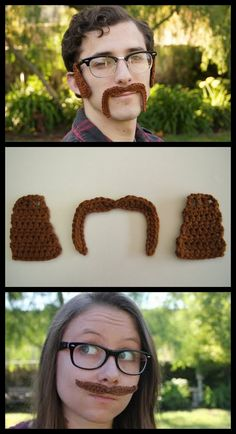 """halloweencrafts: """" DIY Crochet Free Patterns: Two Styles of Mustaches and Sideburns from Louie's Loops. Two Top Photos: Horseshoe Mustache and Sideburns Pattern here, Bottom Photo: Mustache Pattern..."""