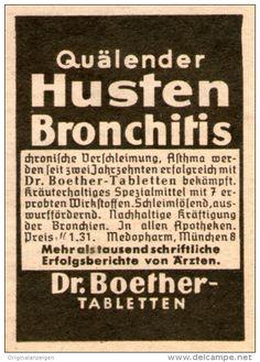 Original-Werbung/Inserat/ Anzeige 1949 - HUSTEN-BRONCHITHIS / DR.BOETHER TABLETTEN - ca.50 x 70 mm