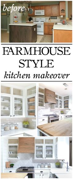 A builder grade kitchen gets a makeover on the cheap! This farmhouse style kitchen makeover is packed with budget friendly DIYs and loads of charm.