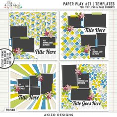 Paper Play 27 Templates by Akizo Designs for Digital Scrapbooking Layout Page. traditional pattern 和柄