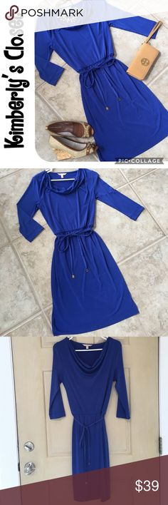 """🛍BANANA REPUBLIC🛍 dress BANANA REPUBLIC blue dress.  Tie waist with antique  gold tone accents on ends of tie.  3/4 length sleeves. Draped, cowl neck style looks great with a statement necklace.  Super chic dress for work or an evening out.  Measures 21.5"""" from elastic waist to bottom.  Only worn a couple of times - great condition! Banana Republic Dresses"""