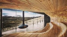 Beautiful architecture and interior design for the Norwegian Wild Reindeer Pavilion by Snohetta. Check out their other work as well across architecture, interiors and branding. Design Sauna, Futuristisches Design, Design Ideas, Nordic Design, Urban Design, Modern Saunas, Rustic Saunas, Architecture Organique, Studio Mk27