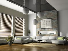 Fashionable Window Blinds Design In Modern Style Living Room Interior With Lampion Hang On Ceiling As Well Sectional White Leather Sofa Icluding Small Table On Brown Rug Interesting Window Blind Design for Modern Home and Business Office Home decoration