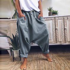 Linen Pants Women, Pants For Women, Loose Pants, Wide Leg Pants, White Casual, Men Casual, Casual Pants, Casual Dresses, Harem Pants Pattern